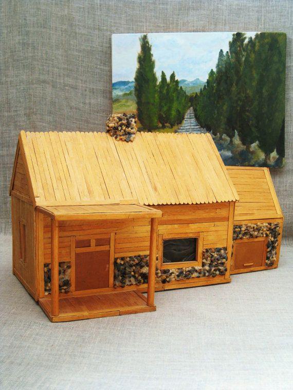 Vintage Folk Art Popsicle Stick House / Folk Art / by wilshepherd, $50.00