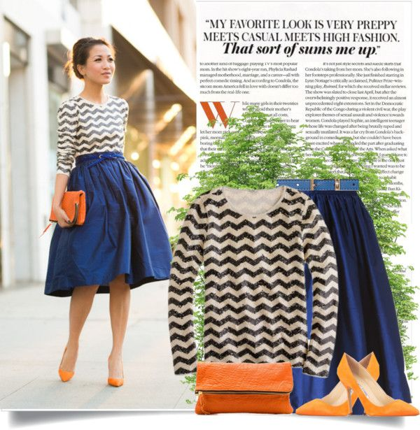 """http://www.wendyslookbook.com/2013/09/october-skies-royal-blue-skirt-orange-details/"" by lisamichele-cdxci on Polyvore"