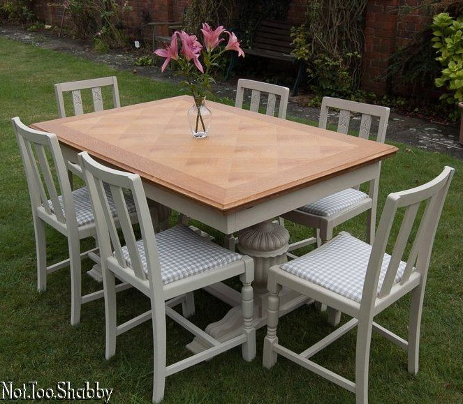 Lovely Country Farmhouse Draw leaf extending dining table & six chairs recovered in gingham fabric hand painted shabby chic Annie Sloan