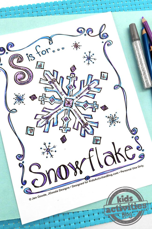 Create a winter wonderland with this free kids snowflake coloring page.  This is one winter activity that won't make you shiver in the cold!