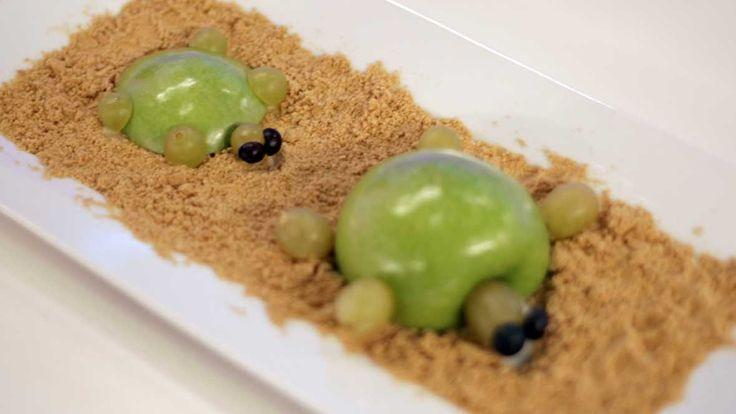 Tortuga de manzana y uva en isla de galleta