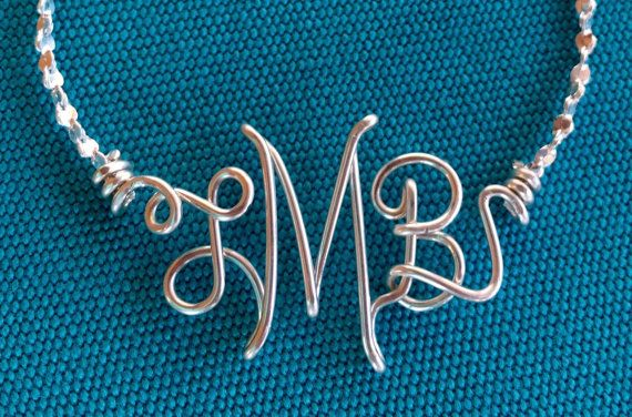 Personalized Monogram Necklace, Bracelet or Anklet~Sterling Silver~Wire Initial Jewelry~Name/Initial Jewelry~Custom Silver Initials/Monogram