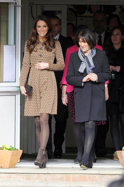 Catherine Duchess of Cambridge visits Rose Hill Primary School, where she donned a special pinny with the name 'Miss Catherine' embroidered on the front, February 21, 2012.