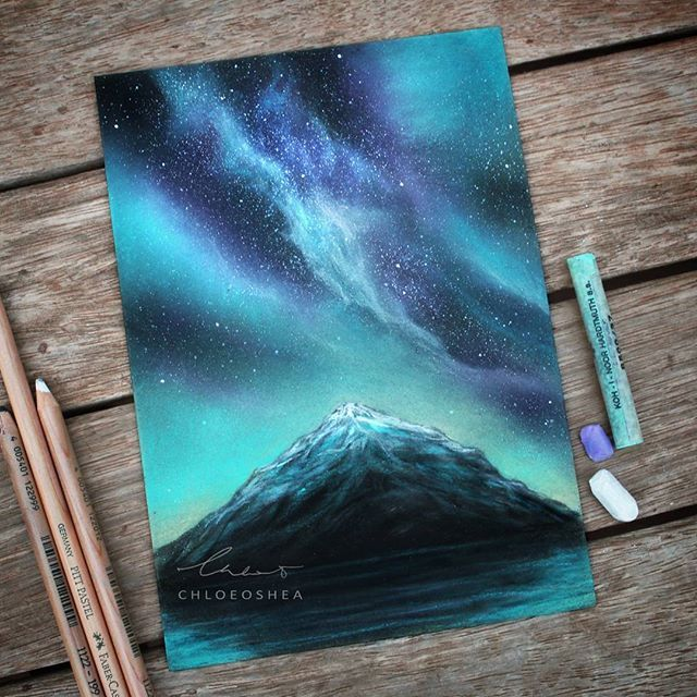 Lonely mountain  ______ No reference image for this! Practice is the key guys, just keep trying! ______ I know this is very similar to my other works but I'll show you why that is very soon! ______ What I used: -Toison D'Or Soft chalk pastels on Canson pastel paper