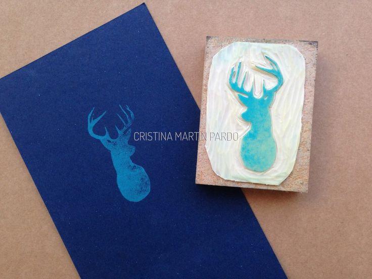 Deer, Handmade carving stamp by Cristina Martín Pardo Jungle Shadows Collection, UNIQUE
