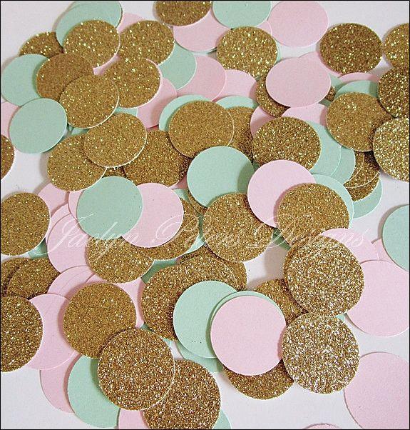 Blush Pink, Mint & Gold Glitter Confetti