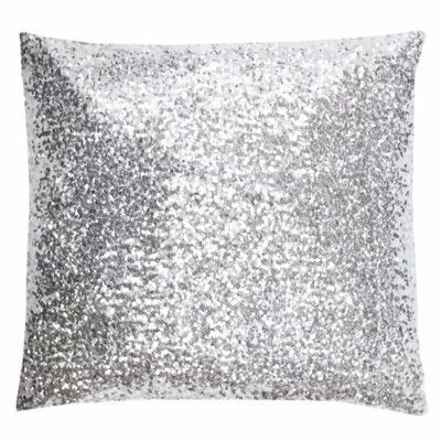 "NECR Print Silver Glitz Throw Pillow Size: 18"" H x 18"" W x 5"" D"