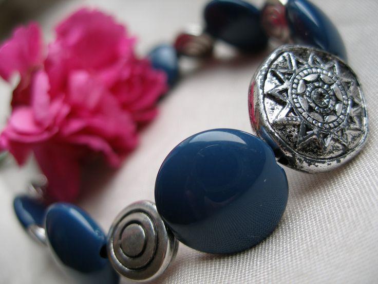 Dark blue bracelet old silver - DIY jewellery