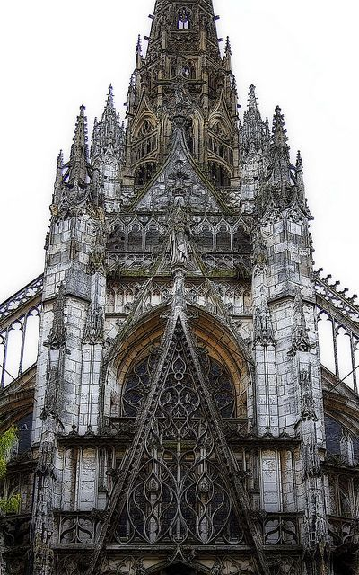 "LATER FRENCH GOTHIC: St. Maclou, Rouen, France, C. 1500-1514. While the Renaissance was already in full swing in Italy, the French were pushing the extremes with elaborate ornamentation as seen in the exquisite traceries of St. Maclou. Considered one of the best examples of the ""Flamboyant style"" of Gothic architecture in France.:"