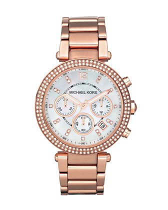 Michael Kors Mid-Size Rose Golden Stainless Steel Parker Chronograph Glitz Watch. $250