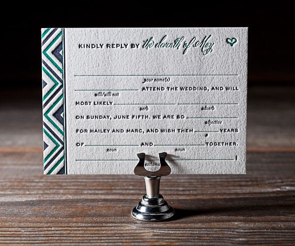 cute and clever letterpressed reply card wording by bella figura