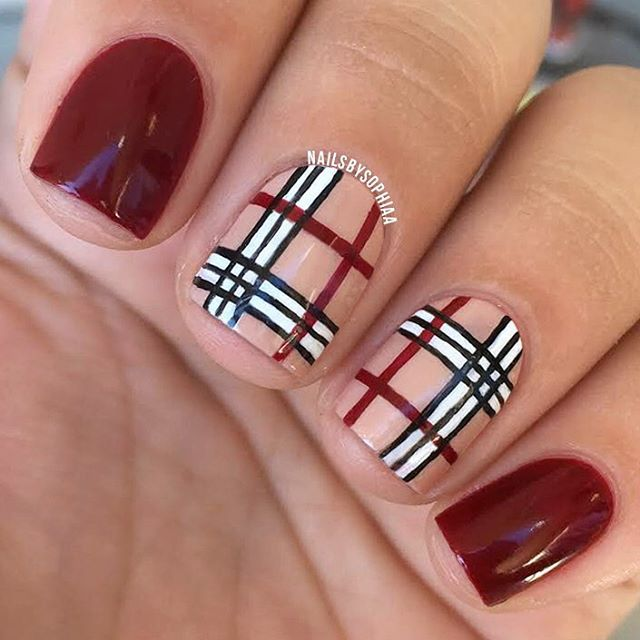 """Happy first day of fall I did these Burberry nails (which I did last year also but it was posted on my hacked/deleted account) I used all @londontownusa polishes for this in """"Lady Luck"""" """"The Full Monty"""" """"Chelsea Porcelain"""" and """"Chim Cher-ee"""" let me know if you guys want to see a tutorial for this"""