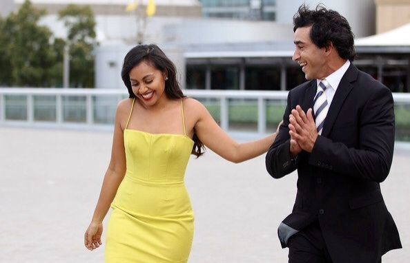 Jessica Mauboy & Johnathan Thurston getting ready to present the NRL trophy.
