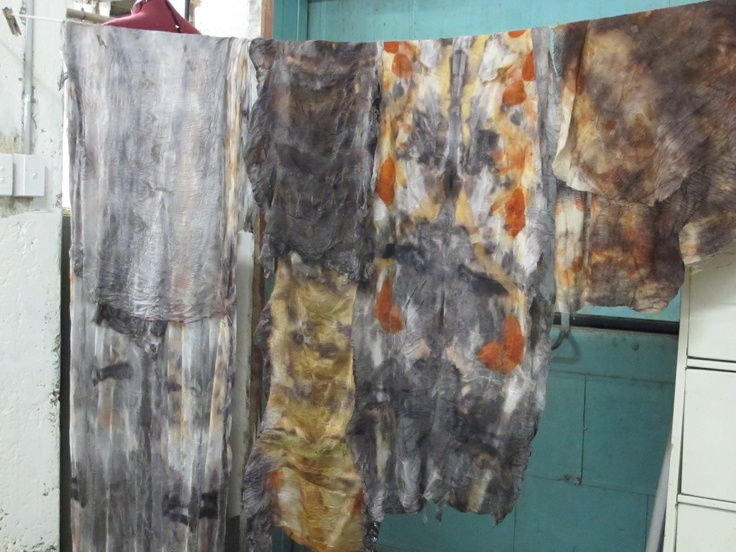 That's it second from right - nono felt, wool sandwiched with paj and tissue silk- dyed with eucalyptus and iron