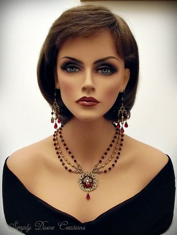 Victorian Necklace Set Bridal Necklace Set by SimplyDivineCreation, $199.00.....  The mannequin is gorgeous!!!!!