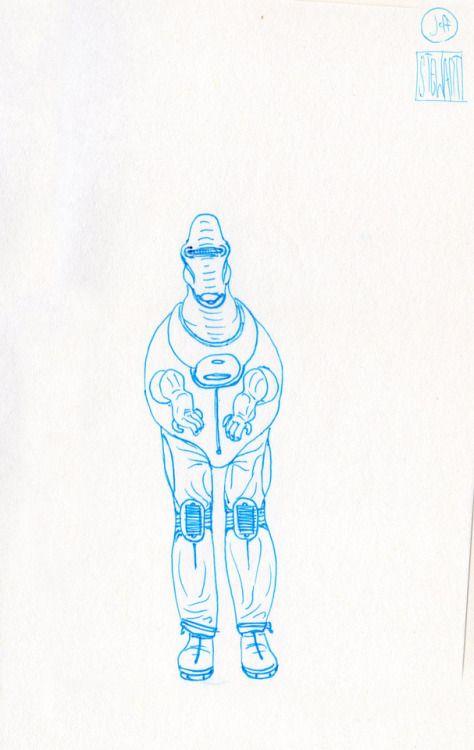Challenge Day 176 Year 3  Muji Light Blue 0.5mm nib pen on Studio Sketchbook  Daily Character Design Challenge, 2017-11-17 Year 3 - No176b, by Jeff Stewart #creature #alien #365_day_challenge #oc #conceptart #CharacterDesign #CharacterChallenge #original_character #character_art #concept #challenge #drawing #sketch #line_art #lineart #line_drawing #linedrawing #art #artist #artists_on_tumblr #sci_fi #scifi #character_design #concept_art #character_challenge