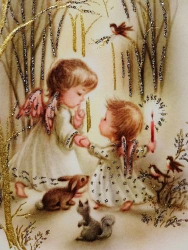 60s Sweet Glittered Angels & Animals-Vintage Christmas Greeting Card