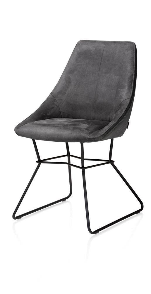 Xooon: Aiden, € 149,-  - draadframe poedercoat zwart - combi Calabria/Tatra  Productgroep: Eetkamerstoelen | Afmetingen: Diepte: 64 cm Hoogte: 88 cm Hoogte zitting: 50 cm Breedte: 53 cm