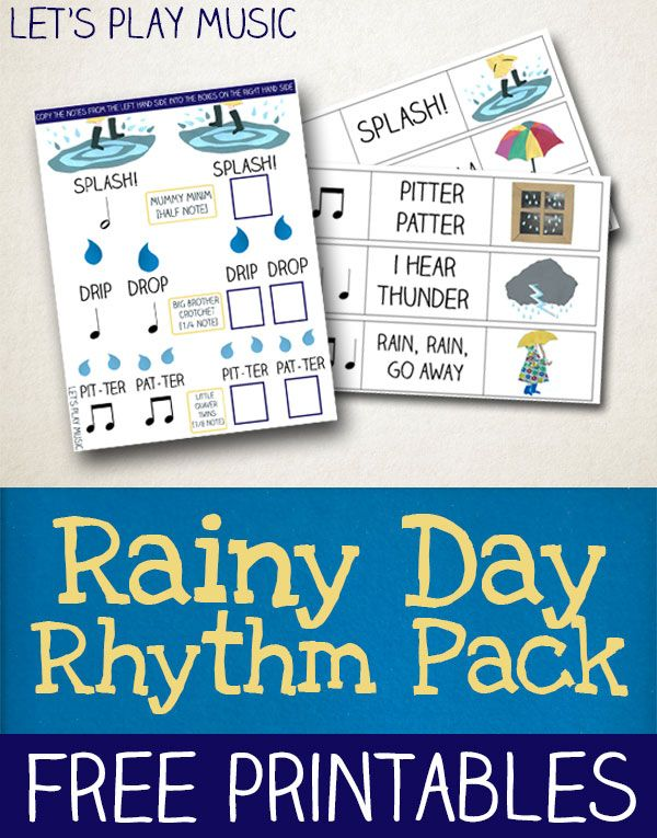 Rainy Day Rhythm Games - Lots of fun exploring the sounds and rhythms of the rain! Easily adaptable for a pre-k/kindergarten homeschool curriculum!: