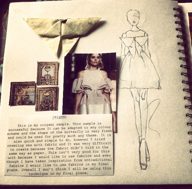Fashion Sketchbook - origami fashion design with fabric manipulation sample & sketch; fashion portfolio // Sarah Davies