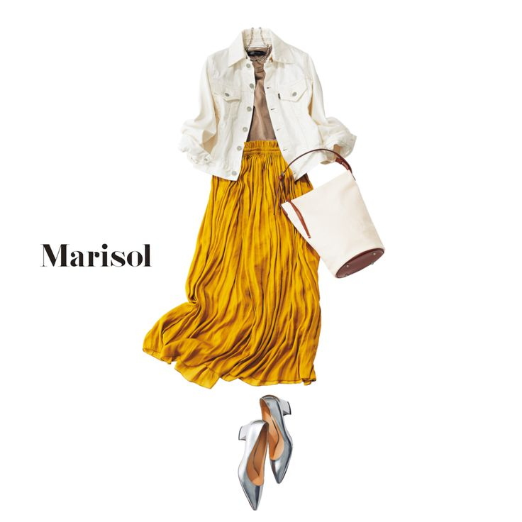 アラフォーのGジャンコーデ、定番ブルーを白に変えるだけで即上品!Marisol ONLINE 女っぷり上々!40代をもっとキレイに。