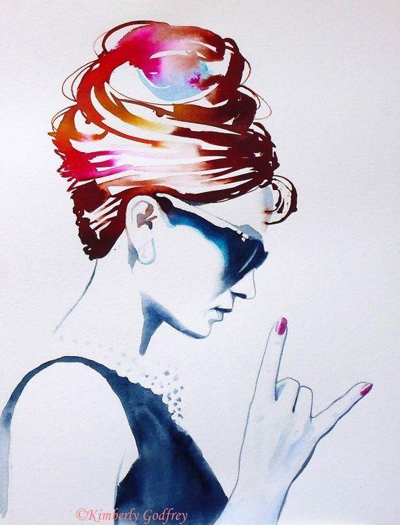 Audrey Rocks Original Watercolor Painting Audrey Hepburn Portrait Punk Rock Fashion Illustration Breakfast Tiffany's Art by earline