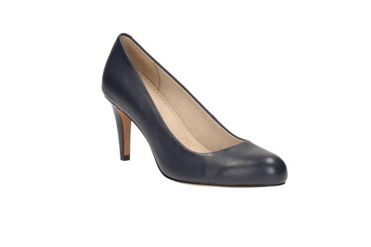 Clarks Womens Carlita Cove Navy Leather Smart Court Shoe