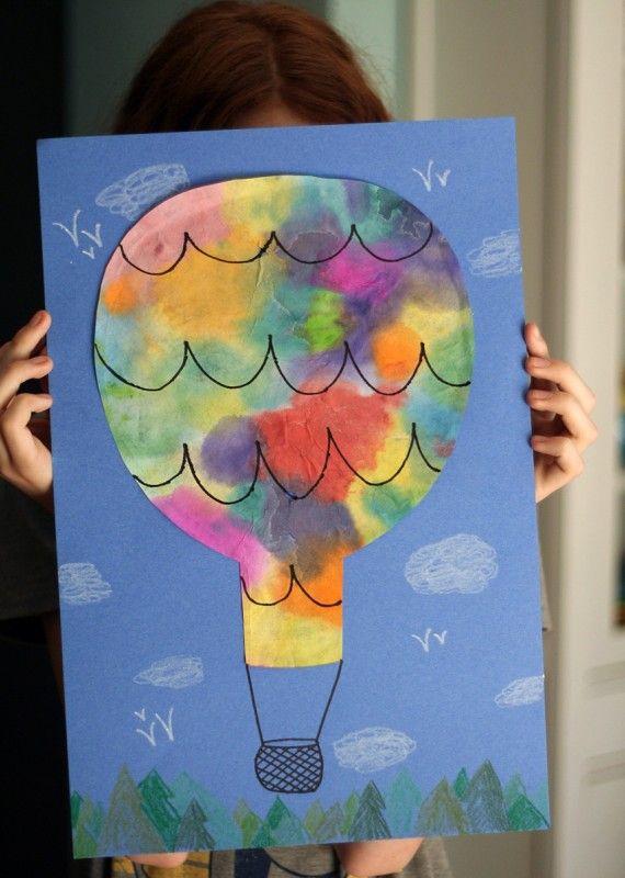 Luchtballon van koffiefilters en waterverf