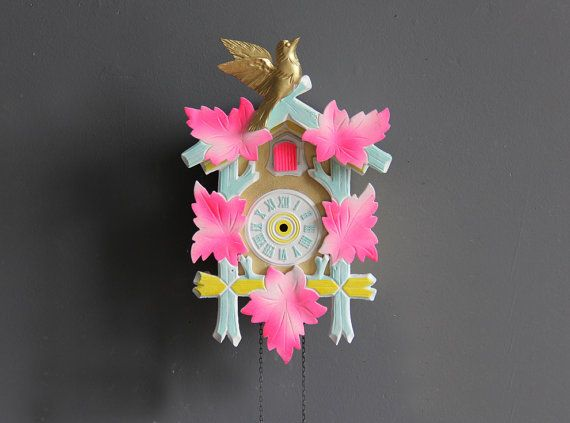 Neon Pink, Blue & Gold Cuckoo Clock. Working Condition