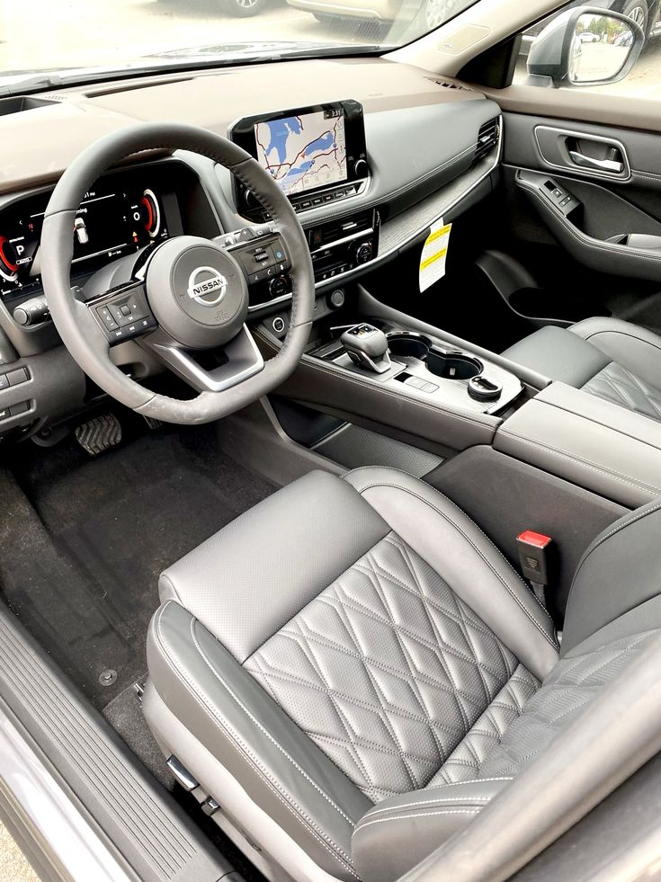 2021 Nissan Rogue Platinum Interior With Black Charcoal Leather