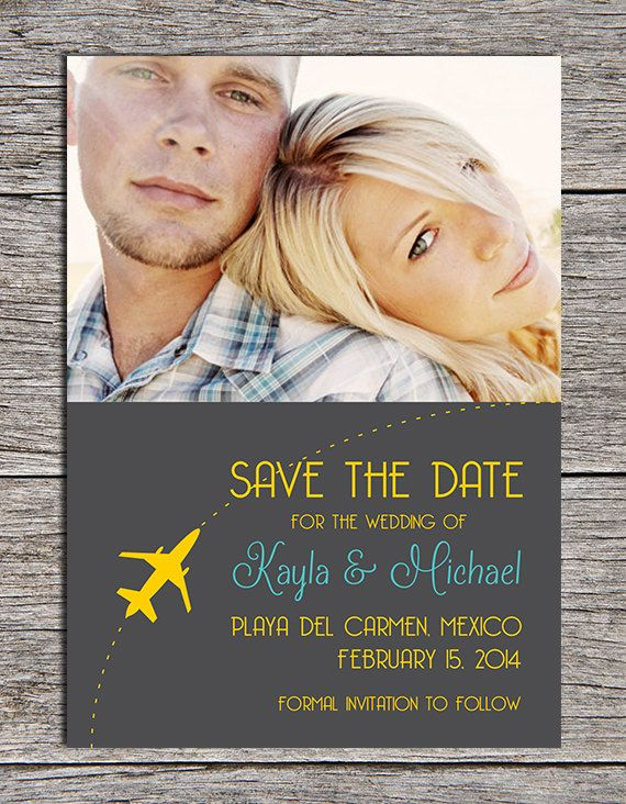 Printable 5x7 destination wedding save-the-date card by Paper Hat Designs, $15.00