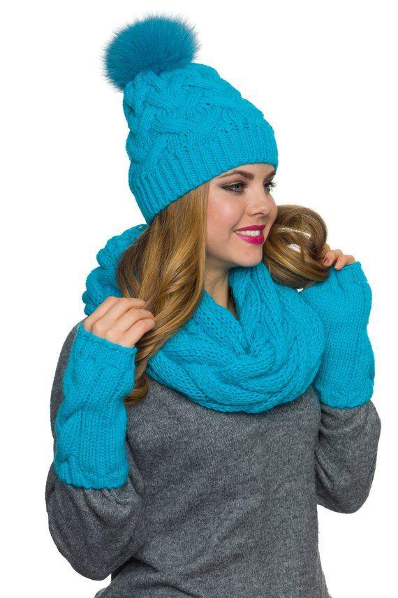 094d63abaf7 Womens hat scarf and glove set Pom pom hat Infinity scarf