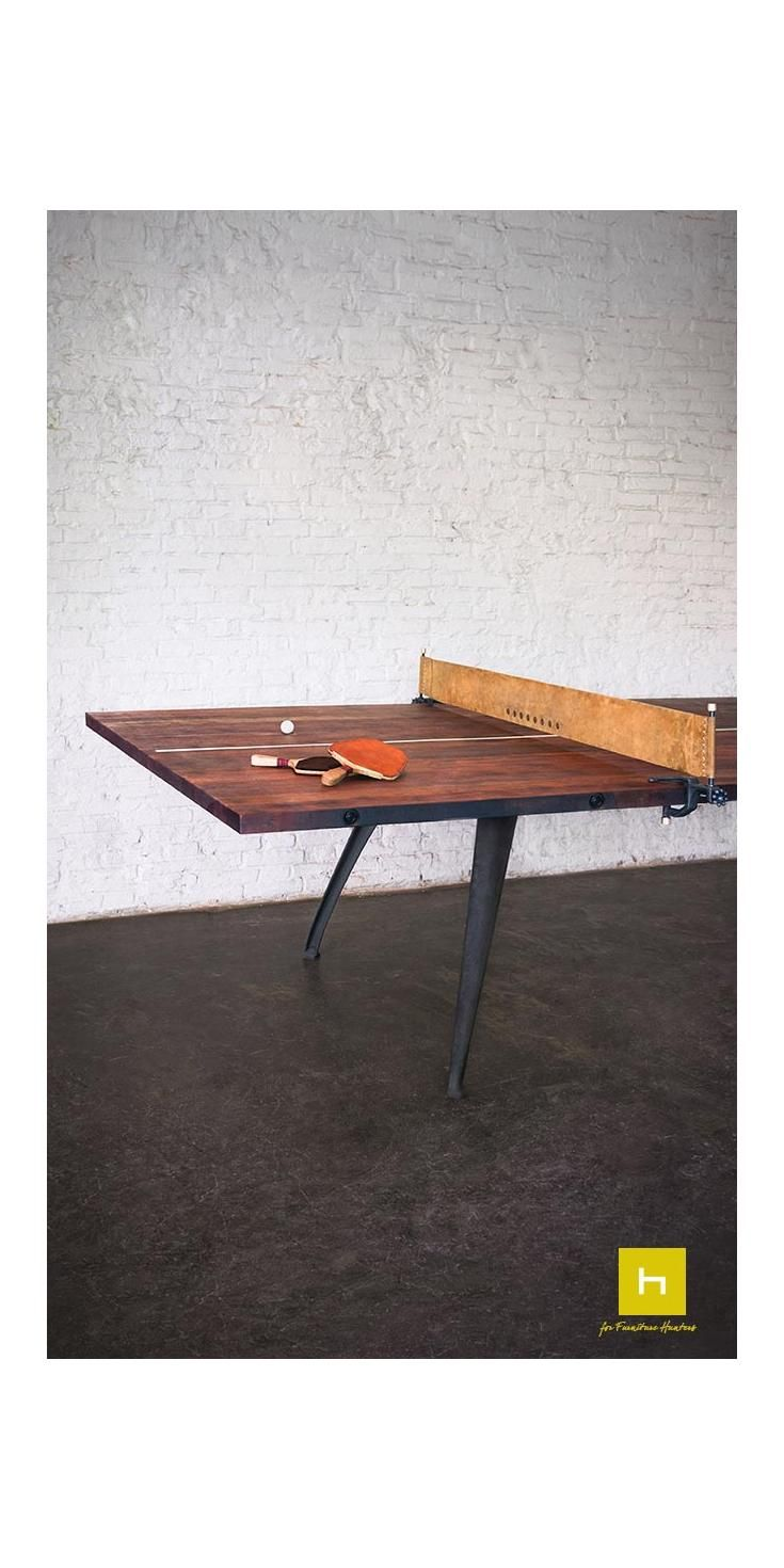 The industrial style ping pong table from District Eight Design is a multi purpose item that is both interactive and functional. No matter what your space it can be incorporated as games, meeting or a dining table. #pingpong #table #interiorstyle #design