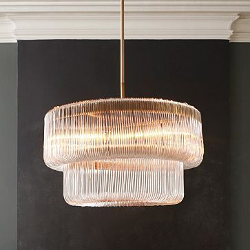Waterfall Chandelier:  modern art deco glory for the DR.  yes please.