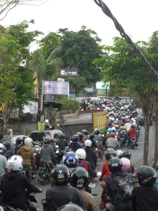 Indonesian traffic jam, Canggu, Bali, Indonesia