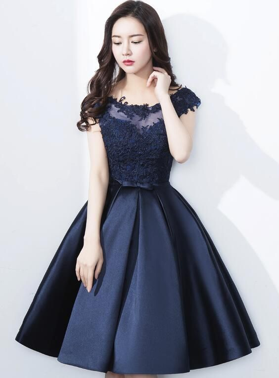 0a95896094d51 Navy #Blue #HomecomingDress 2018, Applique #Party #Dresses , Knee ...