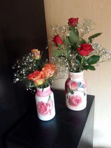 Vasen-Set-DIY-Decoupage-dekorierte-Apothekenflaschen-Shabby