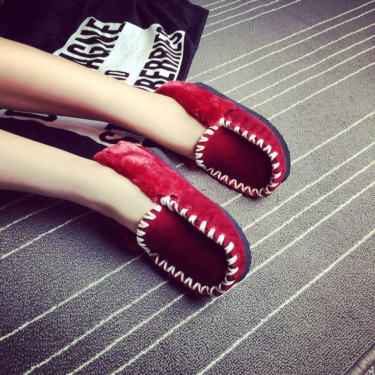 Trendy Red Solid Flock Flats - 478890-3907