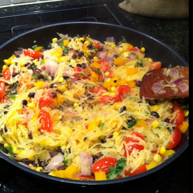 Spicy Spaghetti Squash with beans vegetables and herbs