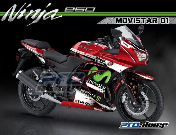 Modifikasi Ninja 250 Karbu Warna Merah Stiker Modif MotoGP Replica MOVISTAR 01 Merah Full Body Prostiker