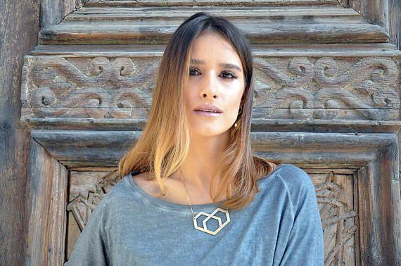 Heart Pendant Necklace Geometric Heart Statement Necklace