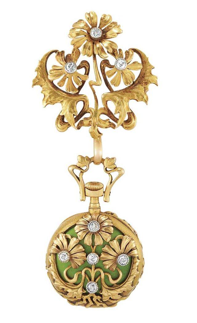 Art Nouveau Gold, Platinum, Lime Green Enamel and Diamond Lapel-Watch   18 kt. | JV