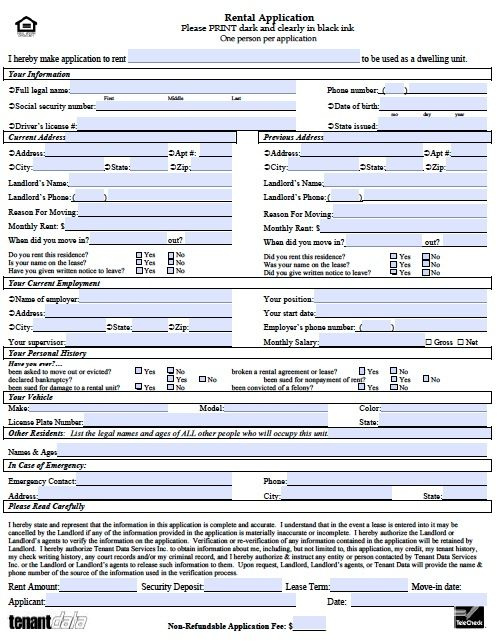 printable sample rental application template form real