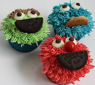 Made these for the girls birthday party in 2011. I just did Elmo and Cookie Monster, but made a couple of changes. First, I used colored sprinkles instead of colored icing, which made it much easier. You can get the colors on amazon. Second, I use the white round chocolate melts you can get at the craft store for the eyes. For Elmo's nose you can use an orange gumdrop, or buy candy oranged and cut them into small pieces. The girls loved them!
