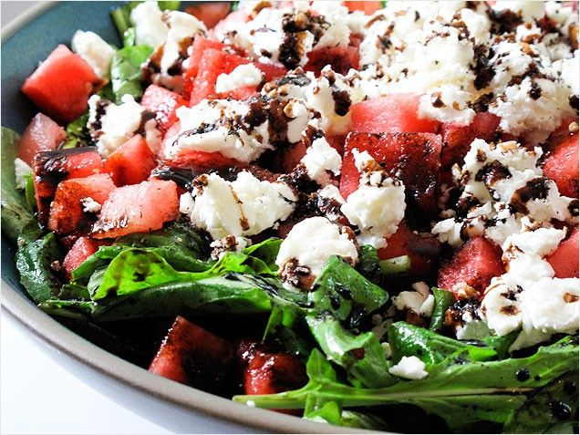 Watermelon, Feta and Arugala salad...this is my absolute favorite salad during the summer.  FYI use a balsamic glaze and just drizzle a little and its perfection.
