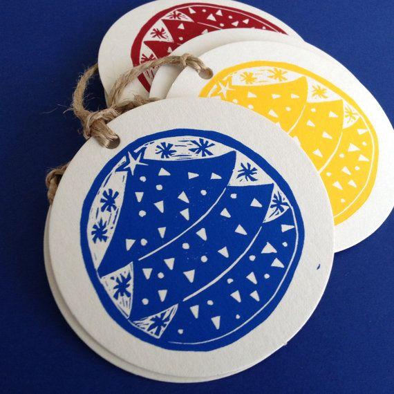 Christmas tree linocut letterpress gift tags, pk 6