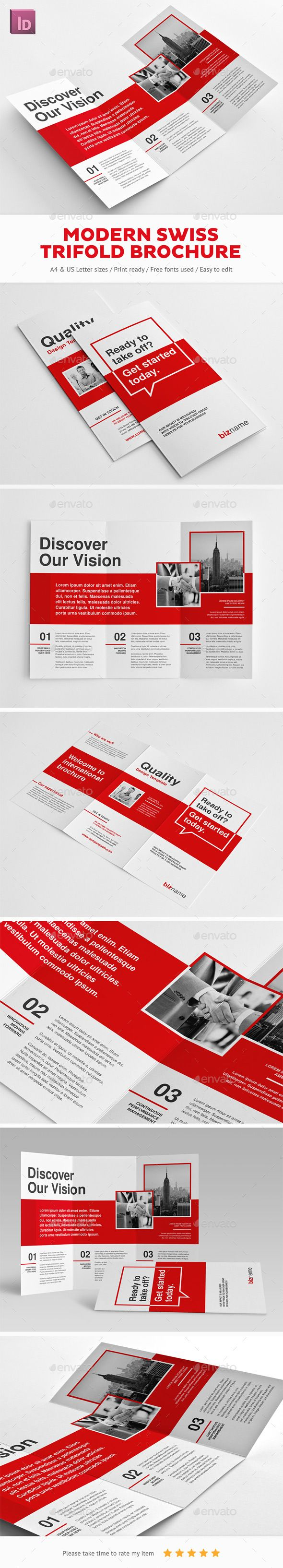 Modern Swiss Trifold Brochure Template InDesign INDD. Download here…
