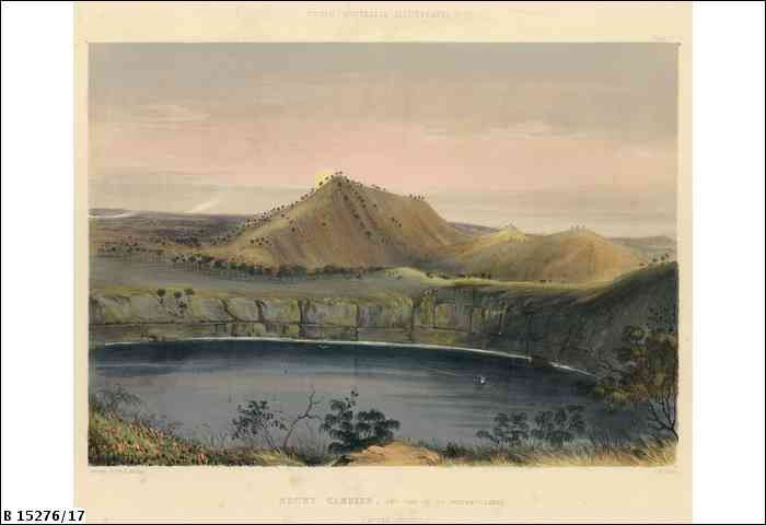 Plate 17: Mount Gambier, with one of its volcanic lakes (after sunset). Part of the text accompanying the illustration reads 'About nine miles from Mount Schanck ... are the extinct Craters of Mount Gambier, containing several volcanic lakes, enclosed within abrupt walls of lava.The hollows or craters are three in number, that, at the western extremity being the most extensive