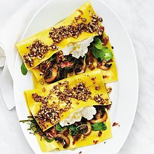 Öppen lasagne med spenat, ricotta och mandelpesto