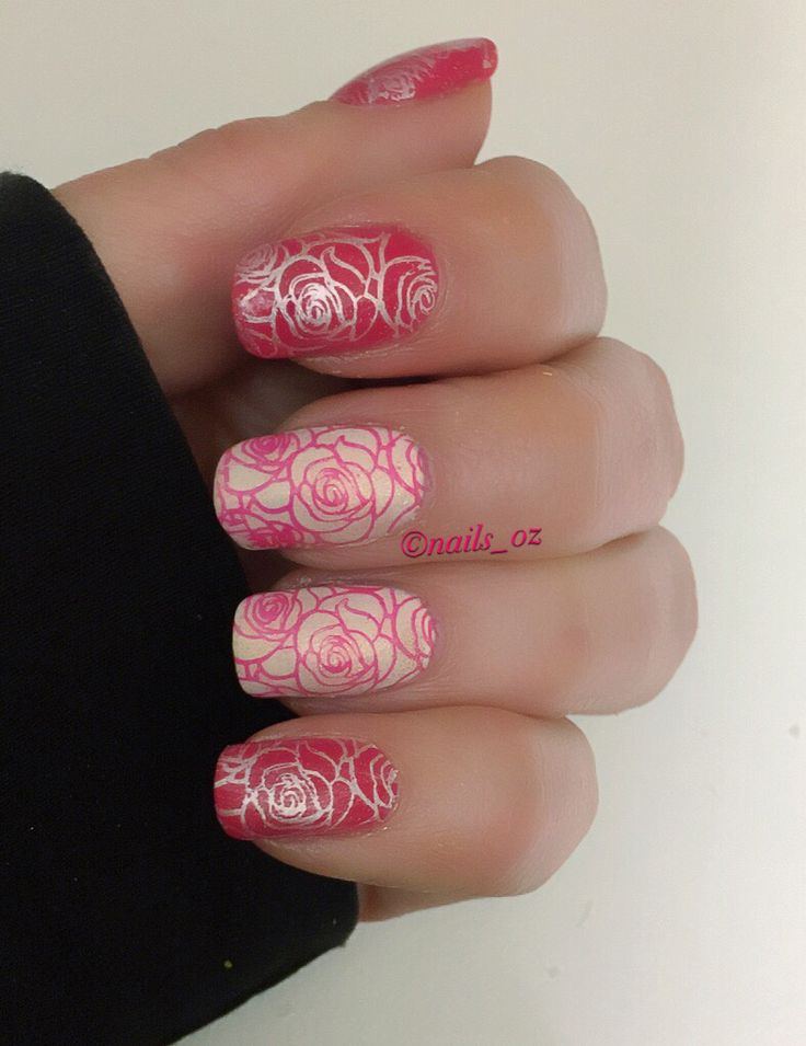 Nail stamping mani using Sinful Colors Folly and Kokonuts with Hit The Bottle Moonshine and Born Pretty stamping plate
